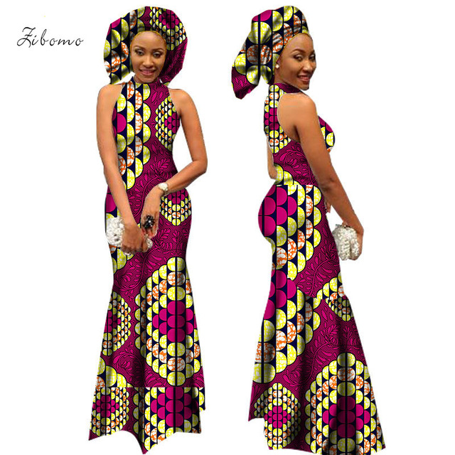 8f494ccadad0 2018 African dresses for women with scarf wax fabric print african clothing  formal maxi plus big size long dashiki ankara dress