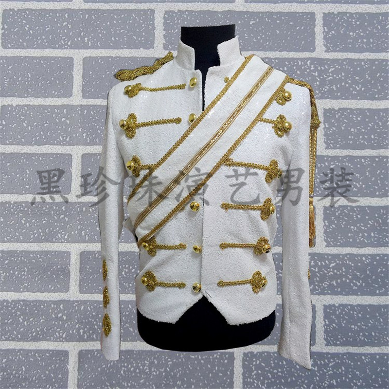 mens full white sequins sewing golden embroidery event/stage performance/dance/singing tuxedo jacket