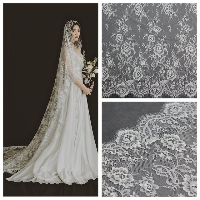 Diy Wedding Veil.Us 12 96 10 Off 1 5 Meters Wide Noble Style Eyelash Lace Fabric Diy Wedding Veil Apparel Fabrics White Black Exquisite Lace Trim In Lace From Home