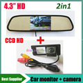 4.3 inch зеркало автомобиля TFT ЖК-монитор + HD CCD вид сзади автомобиля резервного копирования парковочная камера для Renault Fluence Duster камера