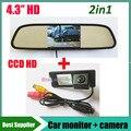 4.3 pulgadas TFT LCD monitor del coche del espejo + HD CCD cámara de visión trasera de copia de seguridad aparcamiento cámara para Renault Fluence Duster cámara