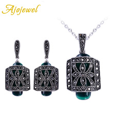 Ajojewel Fashion Vintage Green Resin Stone Jewelry Sets 18K White Gold Plated Hollow Flower Necklace Earrings For Women Gift