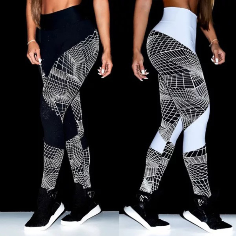 Women's High Waist Stretch Trousers Geometric Digital Print Pencil Pants Workout High Waist Fitness Leggins Sexy Black Leggings