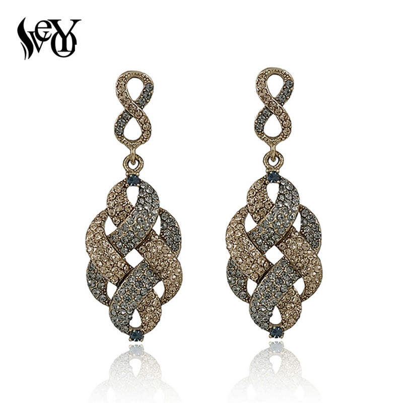 VEYO Full av Rhinestone Alloy Vintage Drop Earrings For Woman High Quality
