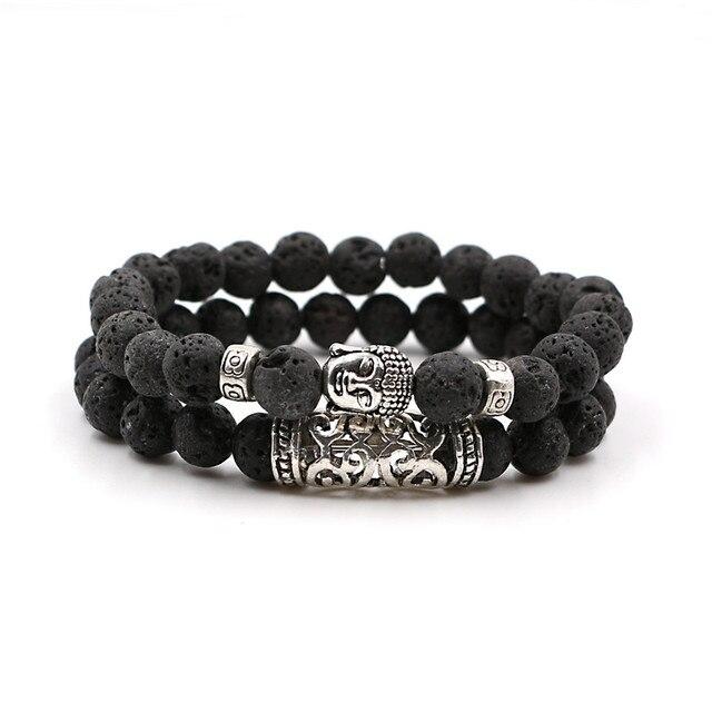 2pcs Set Men Woman Bead Bracelet Beaded Black Lava Stone Prayer Beads Buddha For Women