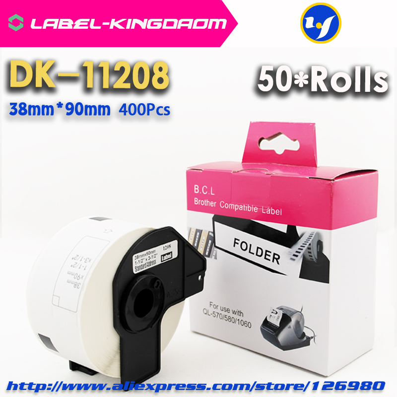 50 Rolls Compatible DK 11208 Label 38mm 90mm Compatible for Brother Label Printer All Come With