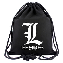 Death Note Anime Men's Drawstring Bag Sports Backpack with String High Quality Travel Rucksack