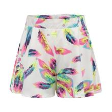 (Ship from US) New 2018 Summer Shorts Women Casual Style Feather Print Shorts  Femme Beach Seaside Street Wearing Zipper Fly Short Feminino b46740252b8