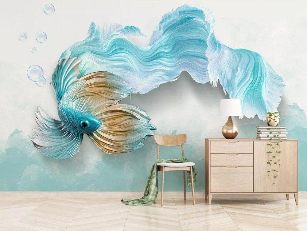 [Self-Adhesive] 3D Blue Goldfish Tail 86 Wall Paper Mural Wall Print Decal Wall Murals