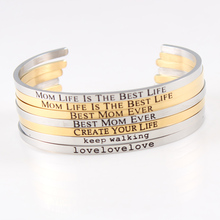 Stainless Steel Bangles Engraved Positive Inspirational Quote Hand Carved Letters Cuff Mantra Bracelet For Women Gifts цена 2017