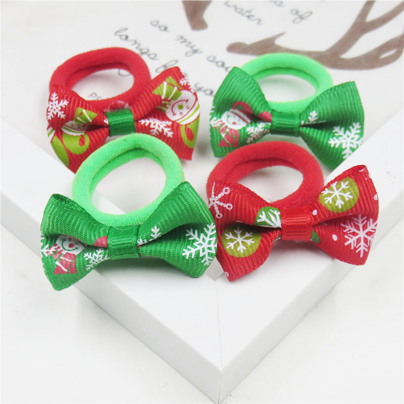 2PCS/LOT  Candy Christmas Small Bow Hairpin For Girl Hair Tie Child Elastic Hair Bands Scrunchy Clips Hair Accessories For Kids