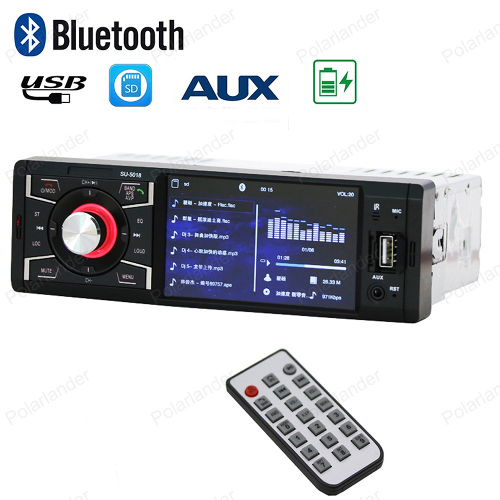 1din Bluetooth Car Radio Stereo support rear camera 4 inch HD screen MP5 Player FM USB / SD AUX in /remote control