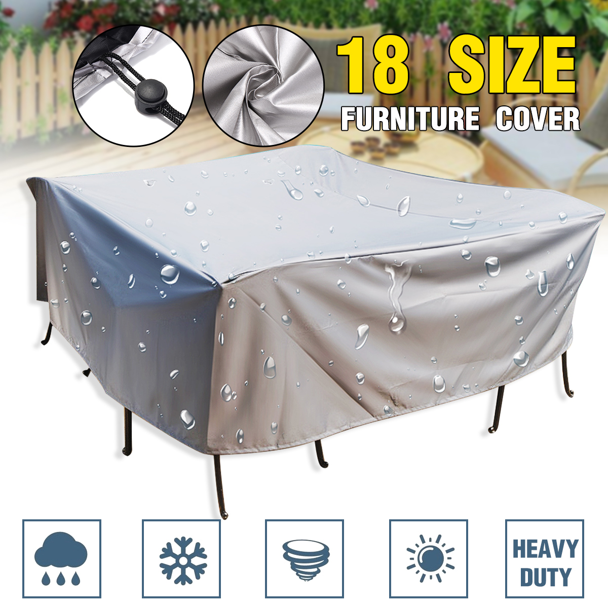 18Size Outdoor Cover Waterproof Furniture Cover Sofa Chair Table Cover Garden Patio Beach Protector Rain Snow Dust Covers