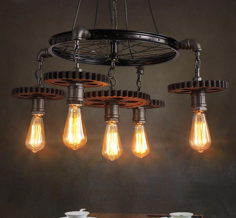 Retro industry Loft creative theme restaurant cafe bar gear pendant lamps personality A1 American industrial wind Iron lights loft style iron pendant lamp creative industry restaurant bar cafe personality studio gear 2 head pendant lights