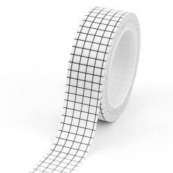 1 pc Schwarz und Weiß Grid Washi Tape Japanischen Papier DIY Planer Masking Tape Klebebänder Aufkleber Dekorative Schreibwaren Bänder
