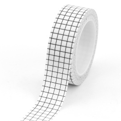 1pc Black and White Grid Washi Tape Japanese Paper DIY Planner Masking Tape Adhesive Tapes Stickers Decorative Stationery Tapes