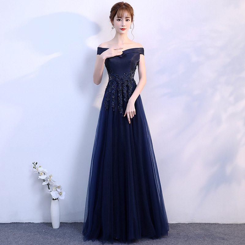 FOLOBE Vintage Navy Blue Women Girls Lace Dresses Elegant Appliques Beadig Long Evening Party Dresses Formal