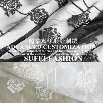 110cm wide black and white embroideried silk cotton lace dress cheongsam fabric S138