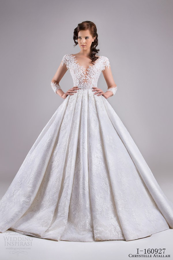 Full lace princess wedding dress long sleeve illusion for Wedding dresses with illusion neckline and sleeves
