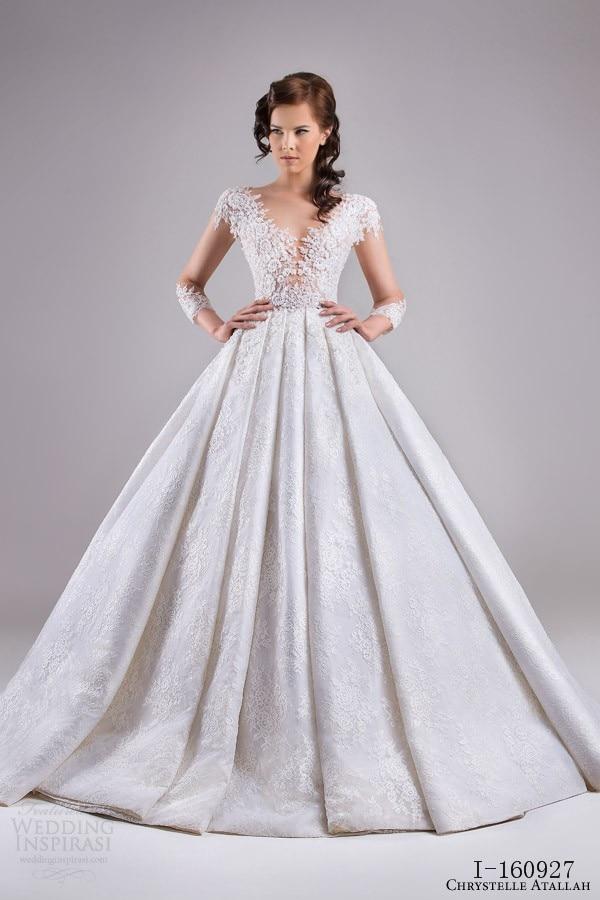 Full Lace Princess Wedding Dress Long Sleeve Illusion