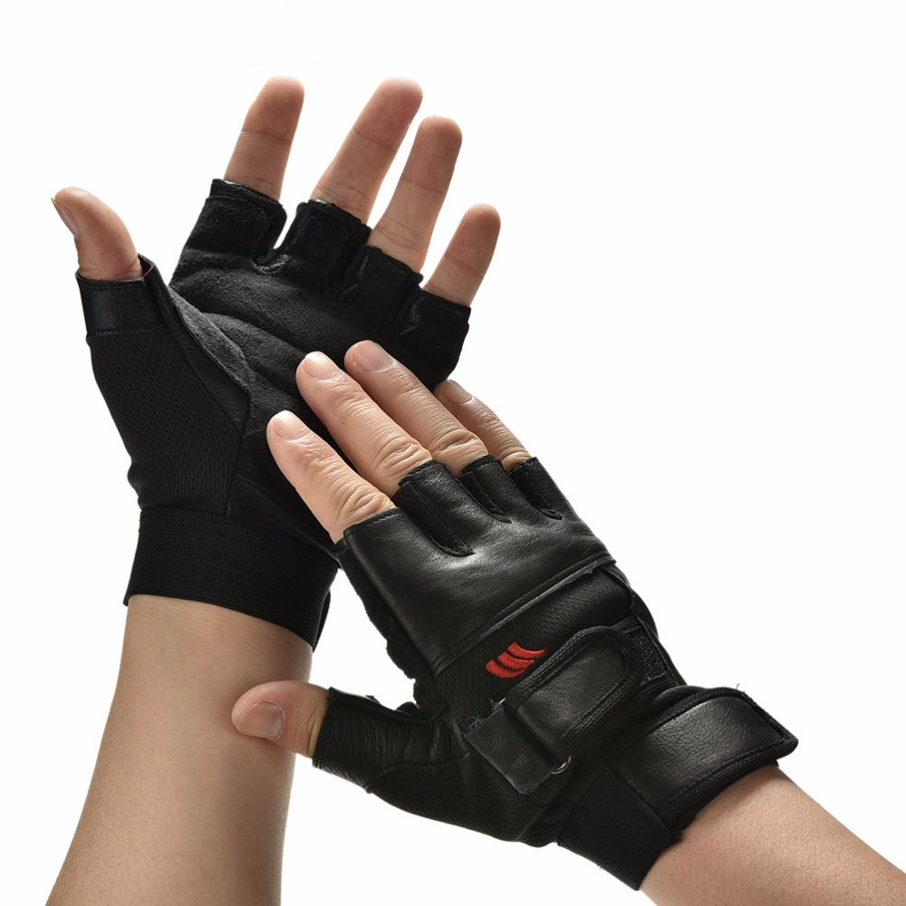 1Pair Men Black PU Leather Weight Lifting Gym Gloves Workout Wrist Wrap Sports Exercise Training font