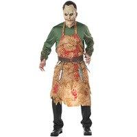 Darmowa Wysyłka Straszne Dorosłych Bloody Ameryka Europejskiej Kucharz Rzeźnik Kostium Mężczyzna Halloween Cosplay Mężczyzna Krwi Kostium Zombie Kostium