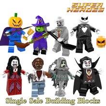 Building Blocks Skeleton Jack Witch Zombie Ghosts Pumpkin Man Werewolf Super Hero Bricks Kids DIY Toys