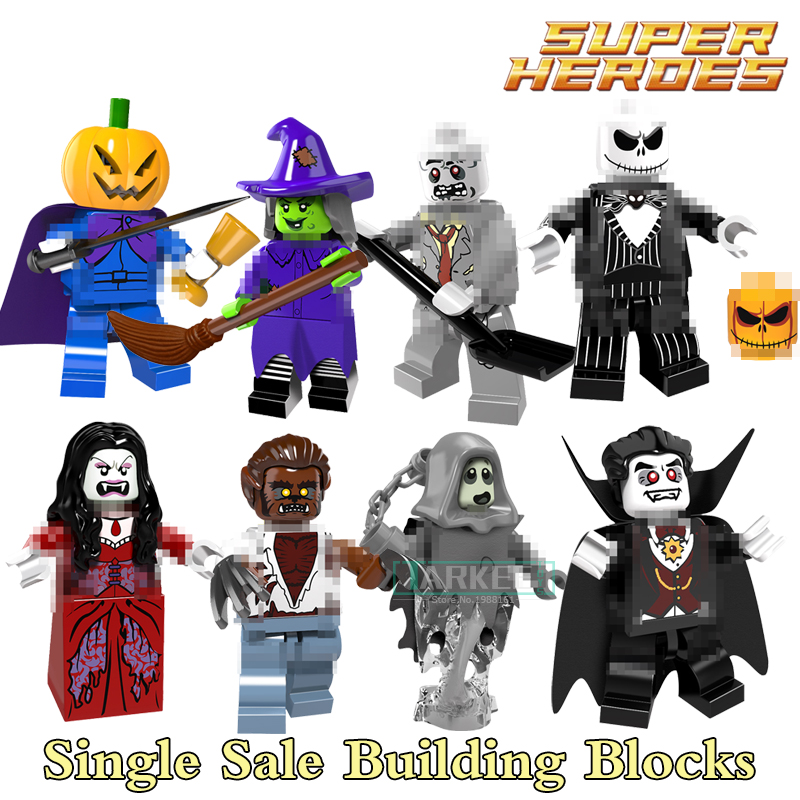 Building font b Blocks b font Skeleton Jack Witch Zombie Ghosts Pumpkin Man Werewolf Super Hero
