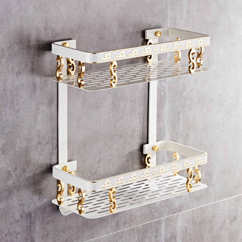 Badezimmer Regal Raum Aluminium Weiß & Gold Dusche Shampoo Seife  Kosmetische Regal Bad Zubehör Lagerung Organizer Rack Halter