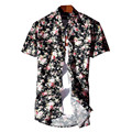 New Stylish 2017 Fashion Men Floral Printed Casual Short Sleeve Shirt Men Casual Turn Down Collar Tops Dress Shirts Plus Size