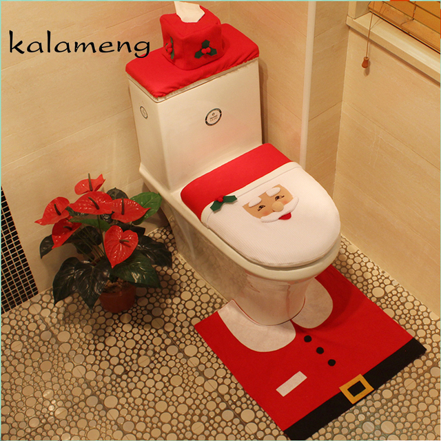 Christmas Toilet Seat Cover Cushion Kit Noel Bowl Ornament Se Santa Claus Rug Bathroom