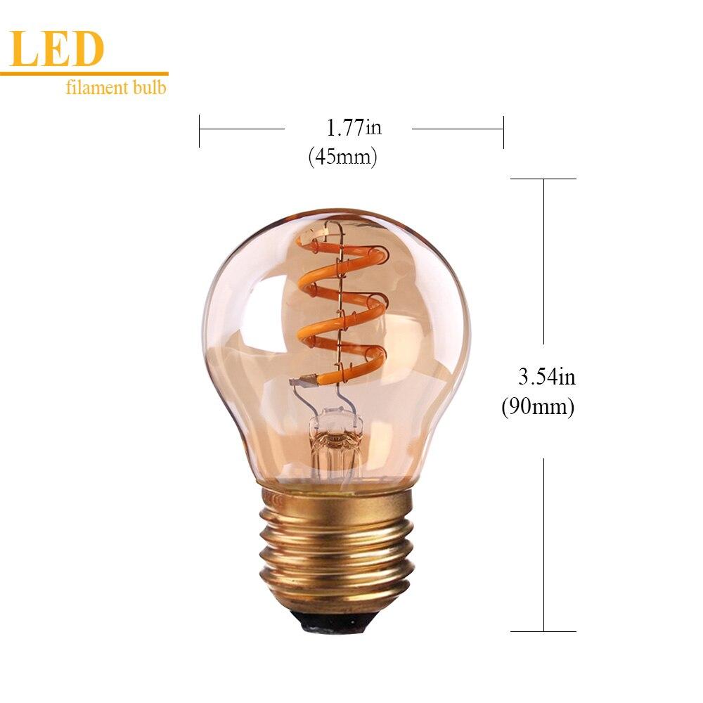 Grensk Led E27 ガラススパイラル G45 グローブフィラメント電球アンティークエジソン電球 3 ワットアンバー電球調光対応ランプ 2200 18K E26 Led  グループ上の ライト & 照明 からの LED バルブ & チューブ の中 2