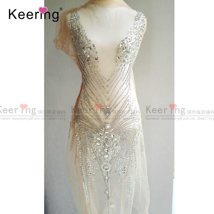 Imitation ALMODAL  Large Size Hand-made Rhinestone Panel For Wedding Dress WDP-066