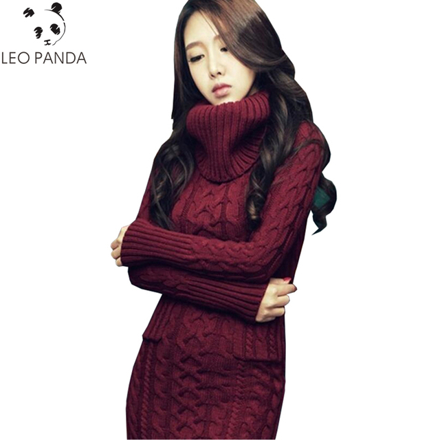 Women Winter Knit Dresses 2018 Europe Long Sleeve Turtleneck Casual