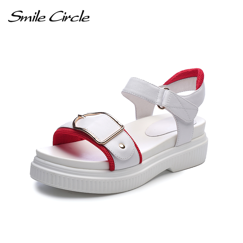 Smile Circle Summer Style Sandals Women Flat Platform Shoes Fashion Genuine Leather Sandals Ultra-soft Comfortable Outdoor Shoes summer shoes woman handmade genuine leather soft sandals casual comfortable women shoes 2017 new fashion women sandals