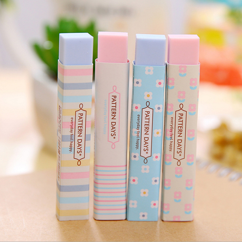 1PC Cute Stripe Colourful Rubber Erasers Stationery Gift For Office Student New