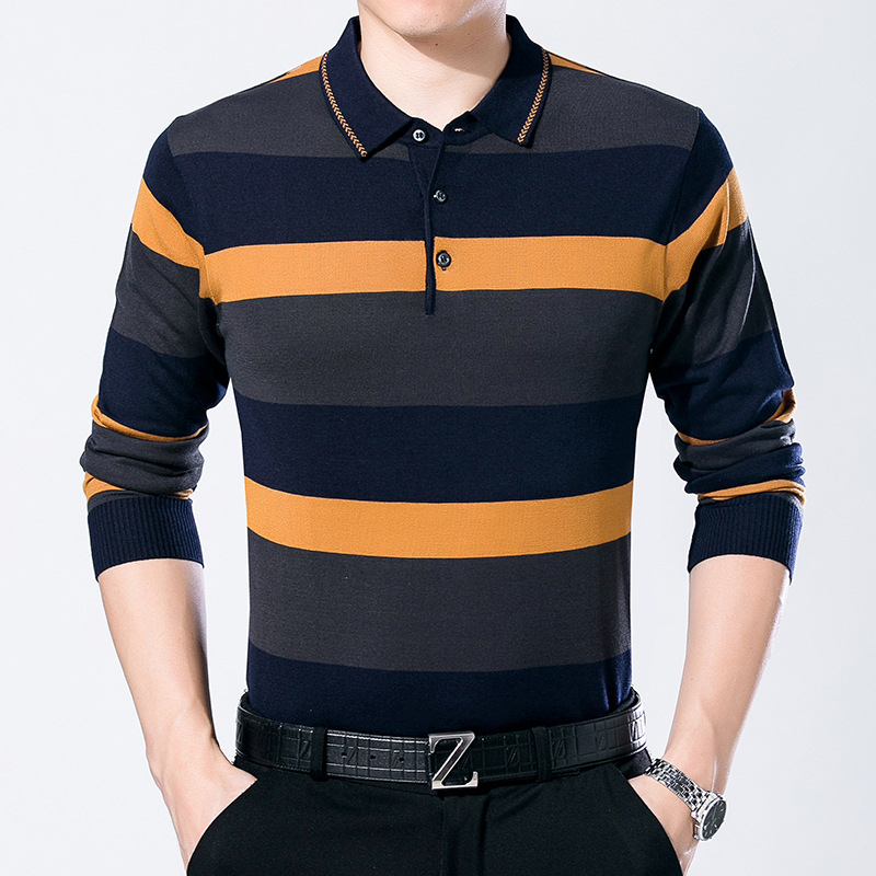 ARCSINX Striped   Polo   Shirt Men Long Sleeve Spring Fashion Mens   Polo   Shirts Autumn Knitwear Men Casual Winter Brand Tee Shirt Men