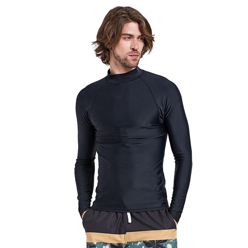 Herren Langarm Rashguard Schwimmen Shirt SPF 50 + Badeanzüge UV Sonnenschutz Schwimmen T Solide Schwarz Grundlegende haut Neoprenanzug Erwachsene