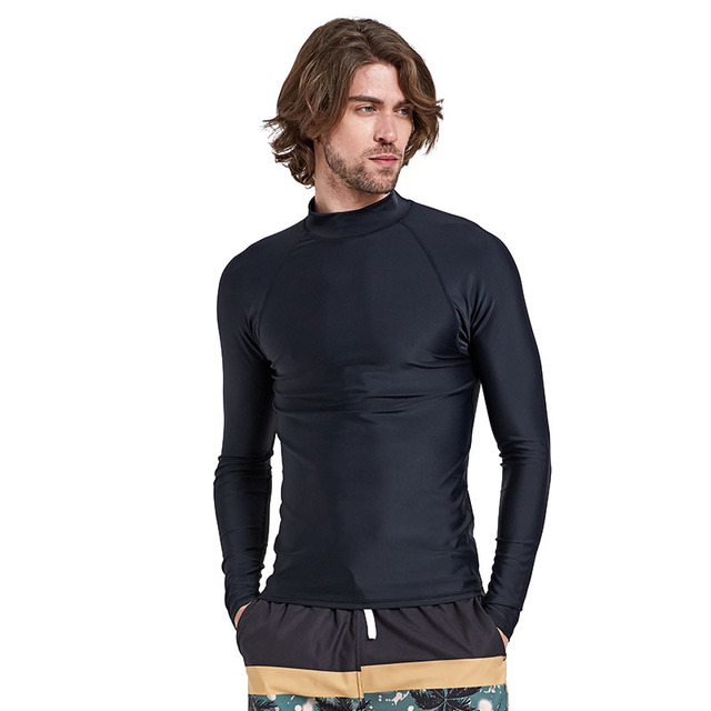 ff88e34217 Men's Long Sleeve Rashguard Swim Shirt SPF 50+ Bathing Suits UV Sun  Protection Swim Tee Solid Black Basic Skin Wetsuit Adult