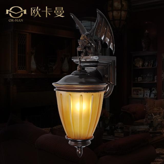 Ou N European Bat Creative Retro Wall American Style Country House Engineering Resin Lamp Bedroom Bedside