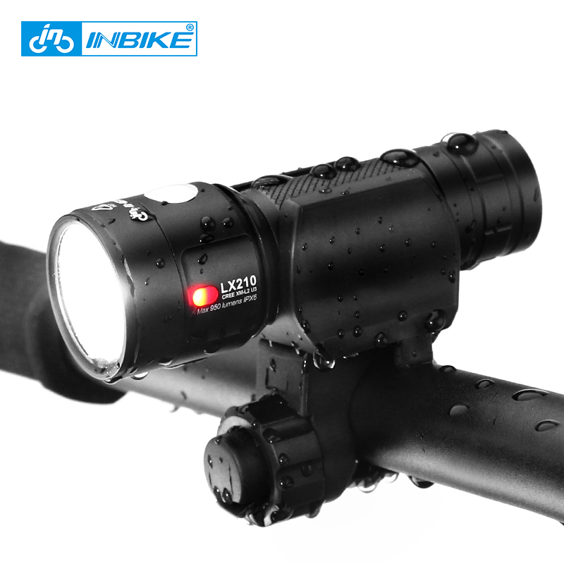 Inbike Bike Light Bicycle Flashlight LED Bike Front Light Cycling USB Rechargeable Headlight Biking Lamp Fietslicht LX210 10000lm 6x xml t6 led front head bicycle bike front cycling light lamp head headlight black