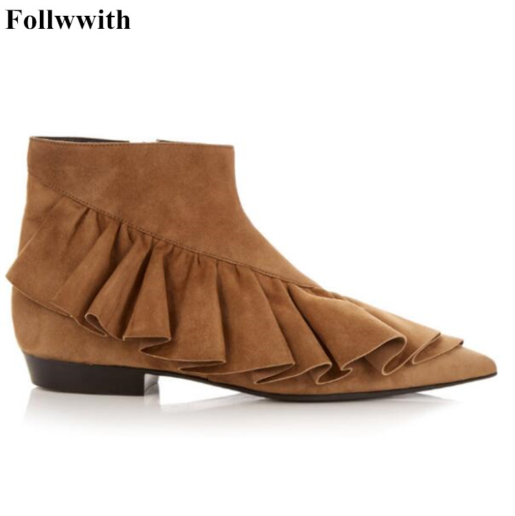 Cross Flounce Pointed Toe Genuine Leather Ankle Boots Ruffles Boots Spring Autumn Women Short Booties Zapatos Mujer Ladies Shoes lotus jolly ballet flats faux leather women casual shoes tie vintage british oxford low pointed toe spring autumn zapatos mujer