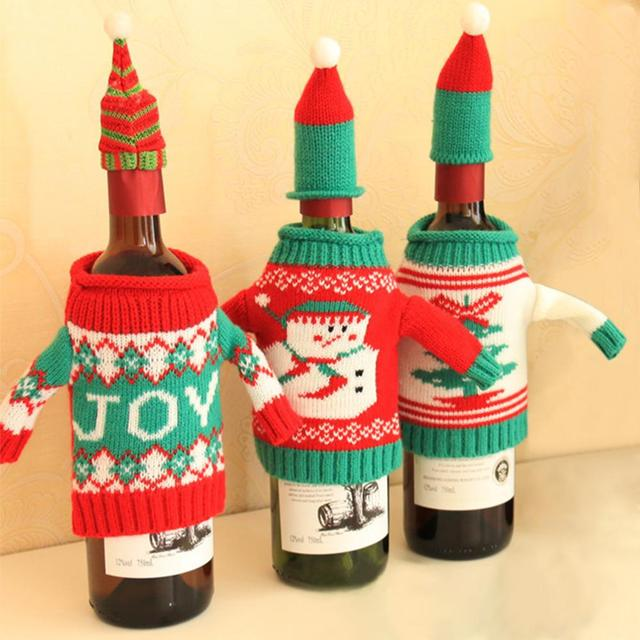 christmas snowman joy tree knitting wine bottle sets bottle cover clothes xmas dinner party decoration supplies