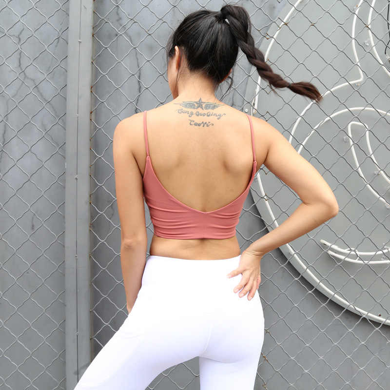 f3a9f09bf5 ... Sexy Scoop Back Fitness Sports Bra Women Padded Ballet Yoga Sports Top  Solid Color Thin Strap ...