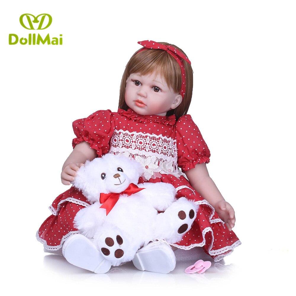 Red dress princess BEBE DOLL 58cm vinyl silicone reborn baby dolls toddler girls for children gift with bear plush bonecas