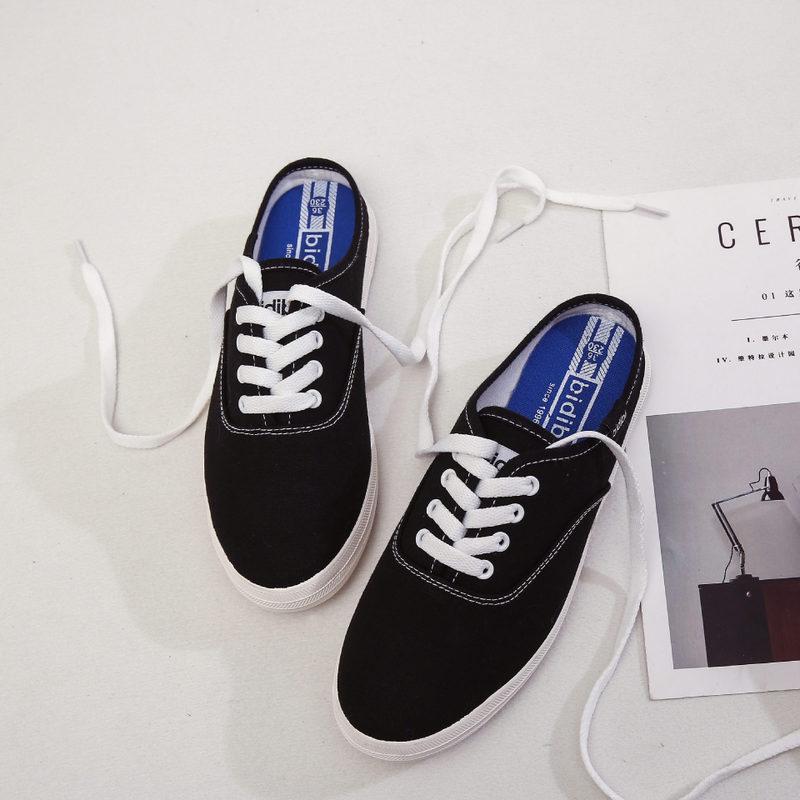 Noir Simple Femmes Toile Pédale Nouvelle Plates Légères blanc 2018 Mode Chaussures De Casual qP86pw