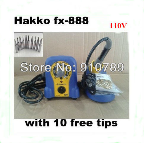 For 110V HAKKO FX-888  Solder Soldering Iron Station with 10 Free tips 900M-T ,DHL free shipping  цены