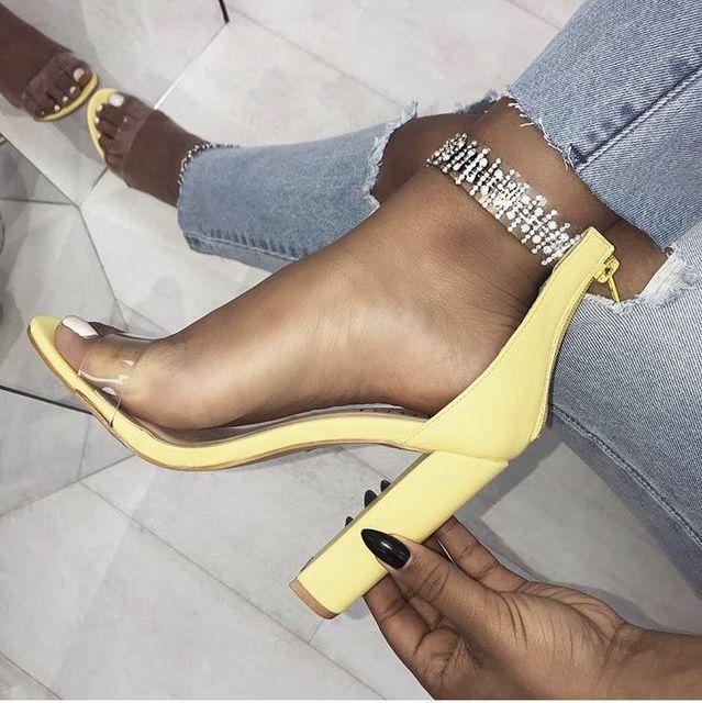 02ccd29feff POADISFOO Women s Shoes 2018 Summer New Fish Toe Sweet Crystal Luxury  Rhinestone Thick High Heel sandals ZL-516-1