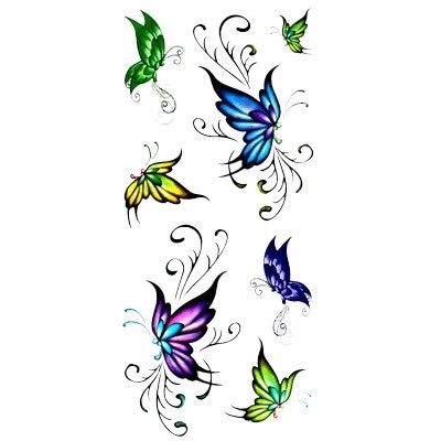 Dessin Papillon Tatouage personnalité de la mode tatouage autocollants belle bleu papillon