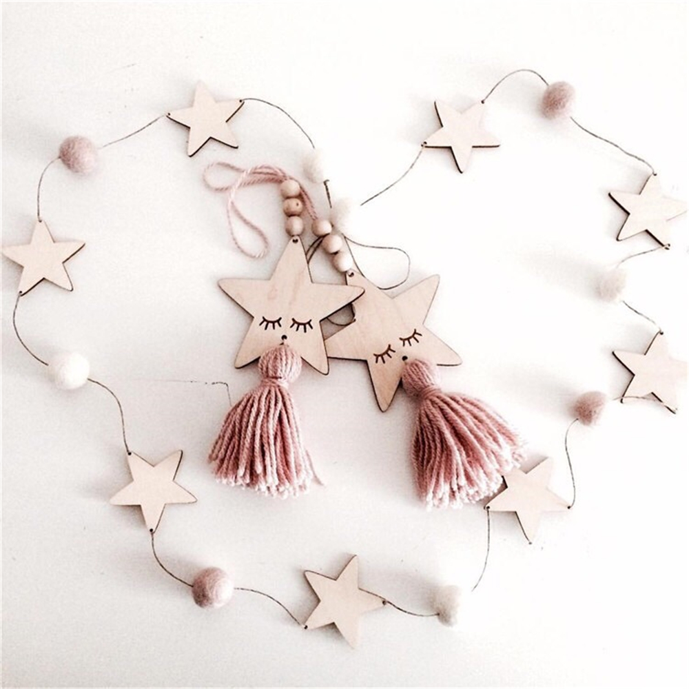 Nordic Style Stars Ball Hanging String Home Girls Room Decoration Holiday Birthday Ornaments
